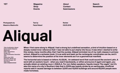 ALIQUAL RECENSITO DA PAOLA PALEARI SU YET MAGAZINE/ALIQUAL REVIEWED BY PAOLA PALEARI ON YET MAGAZINE