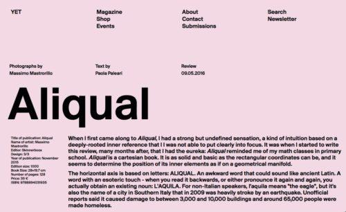ALIQUAL RECENSITO DA PAOLA PALEARI SU YET MAGAZINE/ALIQUAL REVIEWED BY PAOLA PALEARI ON YET MAGAZINE